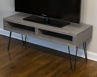 Pallet Inspired TV Stand Entertainment Center Media Console - Modern Rustic Mid Century - Driftwood Gray