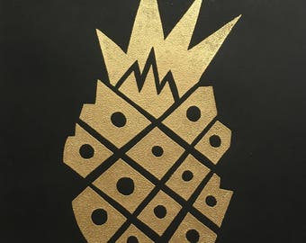 Gold Pineapple Art Prints (Sold Separately)