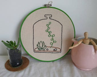 Embroidery Hoop- Bottle Terrarium