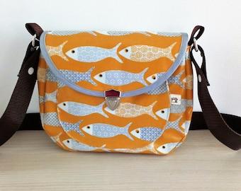 Fish coated cotton shoulder bag