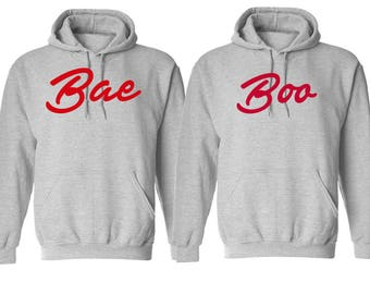 Couple Bae & Boo Valentines Day Hoodies