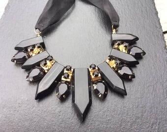 Necklace whit ribbon, black crystal stones, Choker