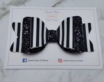 Large Bow Headband or Clip | Black & White | Glitter Bow | Fabric Bow | Baby Headband, Girls Clip