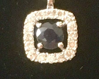 9ct White Gold Blue Sapphire (0.10ct) and Diamond Pendant 0.28 inch (0.7cm) with necklace 1.29 grams
