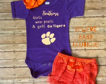 Clemson/ Boho Baby Outfit, clemson onesie, clemson baby outfit, tigers onesie, clemson tigers, clemson football baby, tigers baby