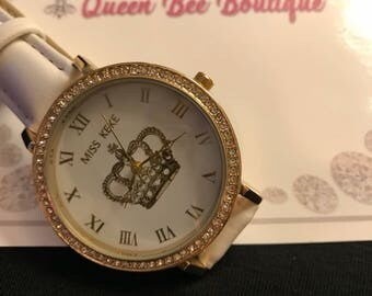 White and Gold Watch Royal Crown Collection