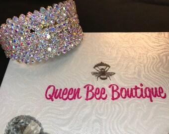 Auroura Borealis Crystal Cuff Bracelet