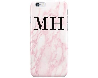 Personalised Name Black initials Pink Marble Phone Case Cover for Apple iPhone 5 6 6s 7 8 Plus & Samsung Galaxy Customized Monogram