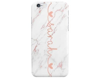 Personalised Name White Rose Gold Marble Phone Case Cover Love Hearts for Apple iPhone 5 6 6s 7 8 Plus & Samsung Galaxy Customized Monogram
