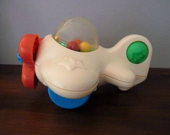 """1988 Playskool Toddler """"Popper"""" Airplane, VG to Excellent, Vintage Push Pull Toy, Works great!"""