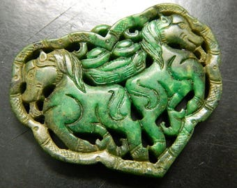 Large Master Carved Couples Green Jade Horses Statement Amulet - Year of the Horse Chinese Zodiac Fortune Amulet