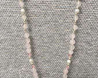 "Hand knotted 20"" Rose Quartz, Freshwater Pearls, Swarovski Crystals"
