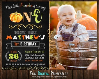 Pumpkin Patch Birthday Invitation, Pumpkin 1st birthday invitation, Pumpkin first birthday invitation, Pumpkin Birthday Invitation