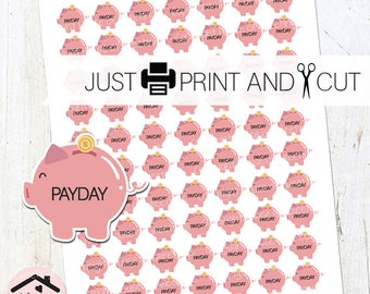 """Payday Stickers, Calendar Stickers, PDF & JPEG, A4 AND 8.5x11"""" Sheets, Piggy Bank Stickers, Pay Day Labels, Calendar Labels, 0332"""