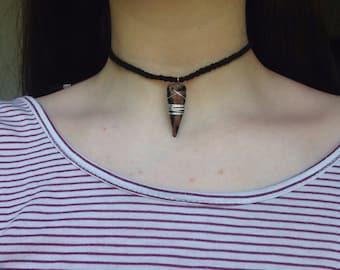 Cotton Cord, Silver Wire, Clay Pendant Necklace