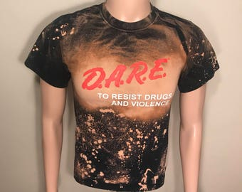 Custom DARE to resist drugs and violence // Funny vintage D.A.R.E tshirt // hipster tee // acid bleach washes // splashed stoner top 90s //