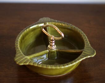 Mid Century Green Ceramic Serving Dish