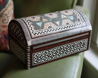 Marquetry Mosaic Jewelry Chest with Bone and Mother Of Pearl Inlay