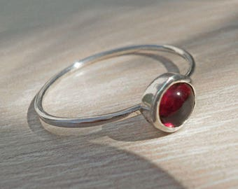 Delicate silver ring,Dainty silver ring,Garnet silver ring,everyday ring,stacking ring,sterling silver ring,stackable ring,thin silver ring
