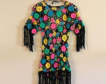 Vintage Flower Crochet & Beads Cover-up