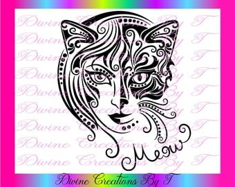 Meow SVG, EPS, DXF