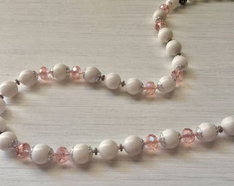 Moutain Jade And Pink Crystal Beaded Necklace / White Beaded Necklace / White Jade Necklace / Pink Crystal Necklace