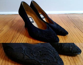 vintage black pumps, lace heels, vintage 1970s pumps, elegant fabric heels with lace tip womens 7 M
