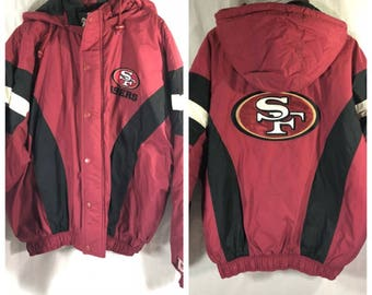 Vintage 90s San Francisco 49ers Starter Full Zip Coat Red Black Embroidered XL