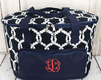 Navy Nautical Cooler Tote with Lid