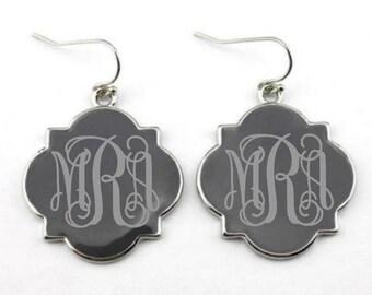 Grey & Silver Monogram Earrings