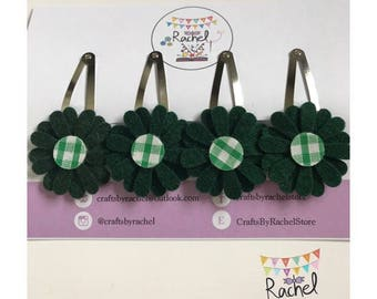 Daisy Snap Clips in Green School Uniform Style