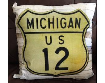 Michigan US 12 Pillow