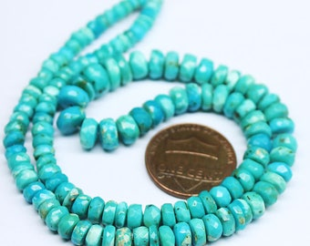 "Arizona Sleeping Beauty Turquoise Faceted Rondelle Gemstone Loose Craft Beads Strand 14"" 4mm 7mm"