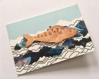 Copper illustrated fish pin #1
