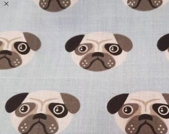 Blue pug dog/cat bandanna