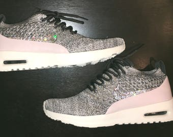 crystal Nike Air Max Thea Flyknit Bling Shoes with Swarovski Crystal Women's midnight Fog Siltstone Red