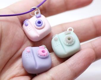 Camera charm necklace, clay jewelry