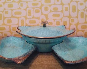 Vintage Turquoise California Pottery USA, Gold Leaf Bowl Set with Lazy Susan
