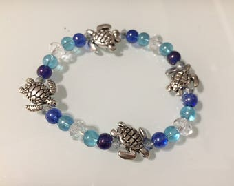 Silver Sea Turtles Stretch Bracelet
