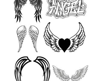 Angel Wings Svg File, Wings Svg, Angel Svg, Svg Files For Silhouette For Cricut, Vector Cutting Files Vinyl Decal, Iron On Transfer