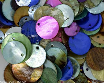dyed mussel shell beads, mussel shell beads, mix lot mussel shell beads, 150 mussel shell beads, mix color mussel shell beads