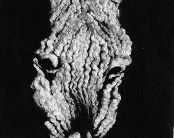 Handmade merino wool art zebra