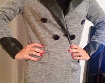 Grey and black viscose color suit jacket