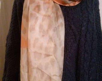 Beige printed silk scarf
