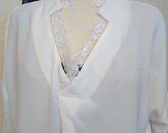 Viscose and white lace blouse