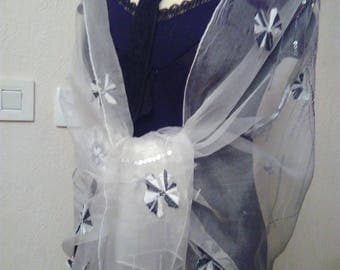 White embroidered silk organza shawl