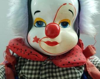 Vintage Porcelain Clown Doll. Home Decor. Collectible , Boy Clown