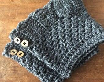 Crochet wool boot cuffs
