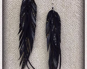 Silver and Gold Leather Feather Earrings, Black, Feather Earrings, Long Earrings