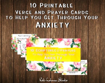 Printable Verse and Prayer Cards for Anxiety • 3x5 inch • Index Cards • Scripture • Prayers  Watercolor Floral